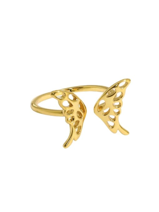 Gold [14 adjustable] 925 Sterling Silver Butterfly Vintage Band Ring